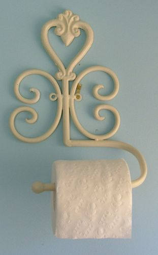 Wrought Iron Wall Mounted Toilet Roll Holder - Heart design - Cream - BA84