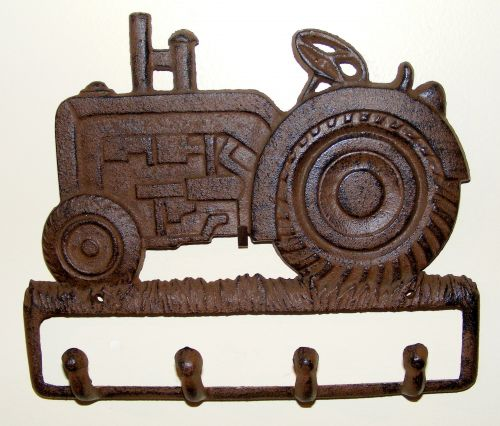 Cast iron Key Rack - 4 Hooks - Rustic Tractor - Brown - RS80