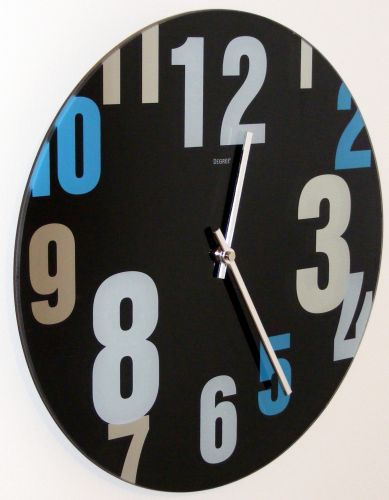 Modern Decor Clock - Glass Face - Coloured Numbers C50
