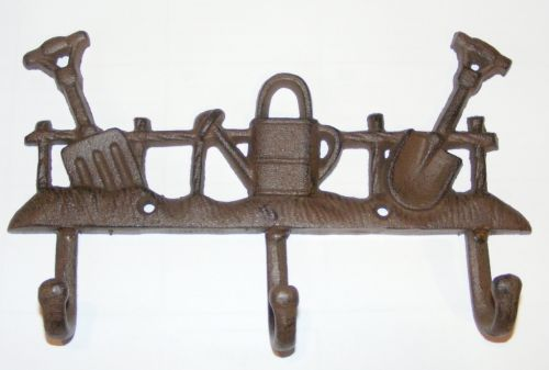 Cast iron Key Rack - 3 Hooks - Rustic Garden Implements  / Tools - Brown - RS106