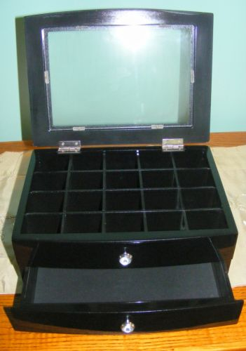 Wooden Jewellery Trinket Box - Glass Top Timber High Gloss Black 1 Drawer - JB41