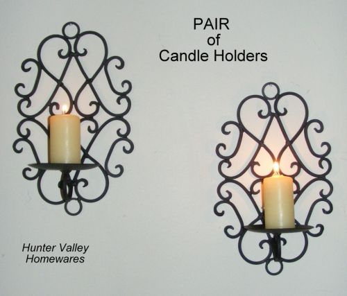 Pair of Wrought Iron Candle Holders Rustic Wall Decor Heart Sconces Black - CW48