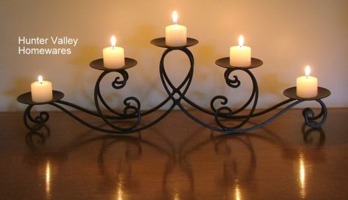 Wrought Iron Candle Holder Black Rustic Country - Wedding - Teardrop 5 cup CF18 MINOR SECOND