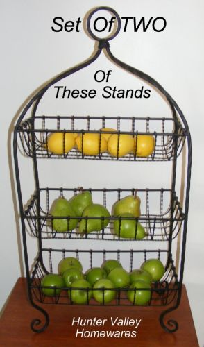 PAIR French Stand Fruit Bowl Basket Kitchen Wire Rack Metal Bathroom Shelf SH123