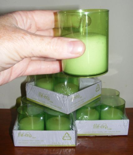 Event Candles Bulk unscented Green acrylic cup 15 hours Party Wedding x12 CA24
