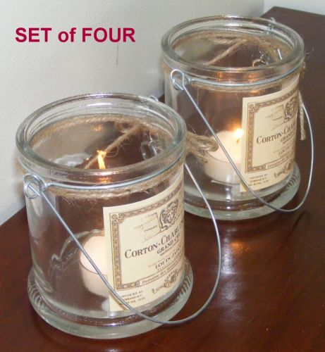 Set of 4 Candle Holders + key Glass Table Hanging Votive Tea Light Jar x4 CG13