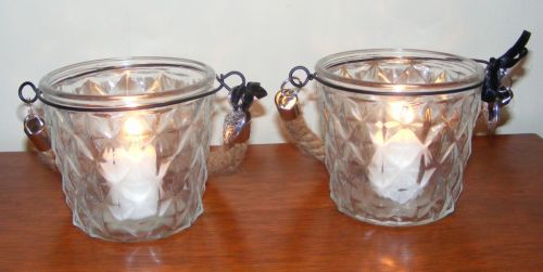 Pair of Candle Holders Glass Table Votive / Tea Light Heart Rope Handle x2  CG24