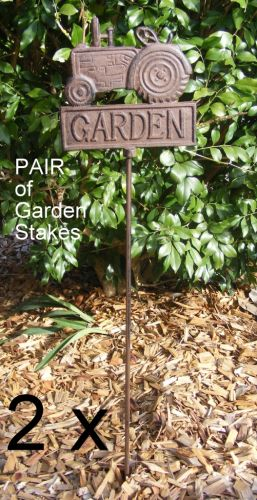 PAIR of Cast Iron Decorative Garden Spike Stake Marker - Tractor Design 2x  CI72