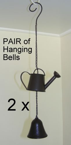 PAIR of Cast Iron Hanging Bell Rustic Garden Chime Decoration  Watering Can CI77