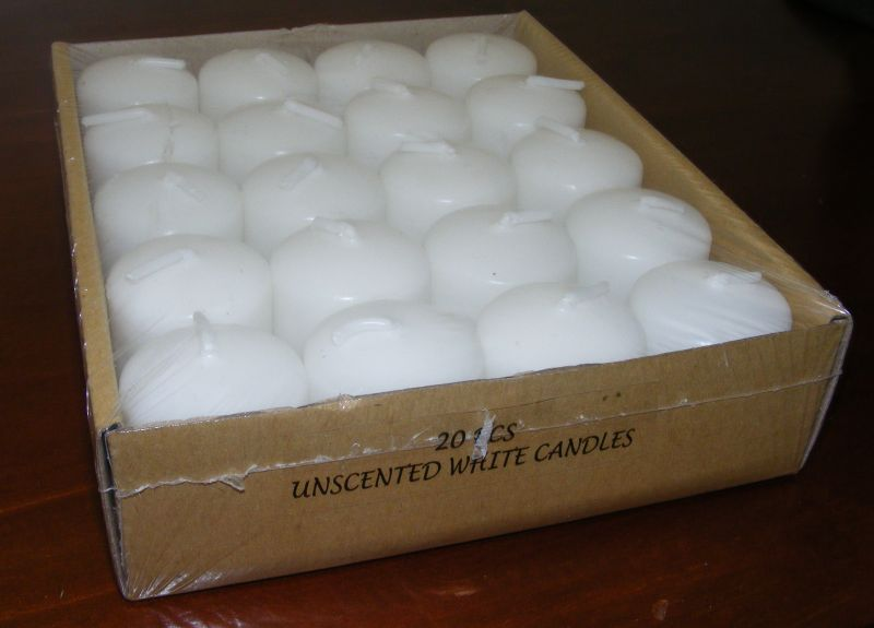 Votive Candles Bulk Wedding Table Function - WHITE unscented Set of 20  - CA07