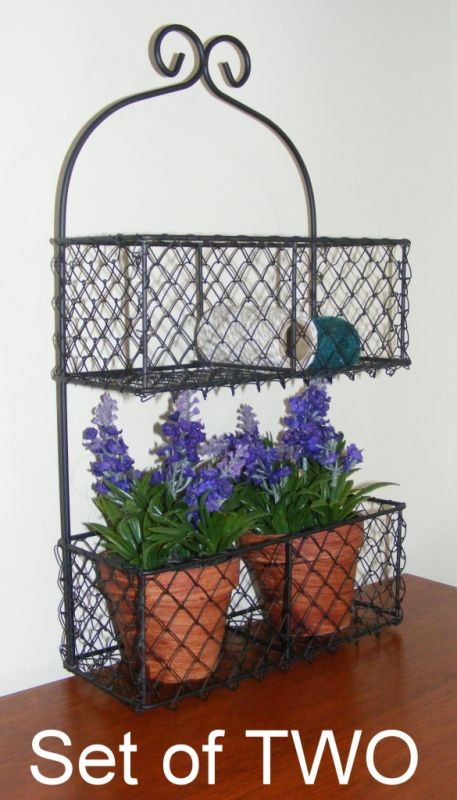 Set of 2 Metal Wall Basket Planter Pot plant holder Country Shelf  2 Tier RS111