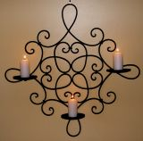 Wrought Iron Candle Holder - Rustic Country Decor -Wall 3 cup Square Br/Bl  CW11