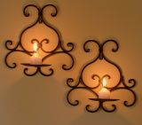Pair of Wrought Iron Candle Holders - Rustic Country Wall 1 cup Brown Black CW21