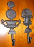 Pair of Cast Iron Hooks - Brown Hangers - Topiary Trees in Pot - CI42