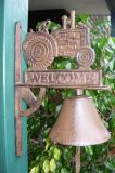 Rustic Cast Iron Hanging Door Bell - Large - Tractor Bell - CI29