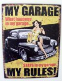 Metal Decor Tin Sign - Home Workshop Man Cave - MY GARAGE MY RULES - SW64