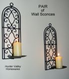 Pair of Wrought Iron Candle Holders - Rustic Country Arched Sconces Bl CW49