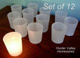 Set of 12 Glass Votive Candle Holders Tea Light Wedding Party Frosted White CG27