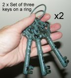 2x Set of 3 Keys on Ring - Cast Iron Metal Old Style Ornament Aqua Teal - DK10